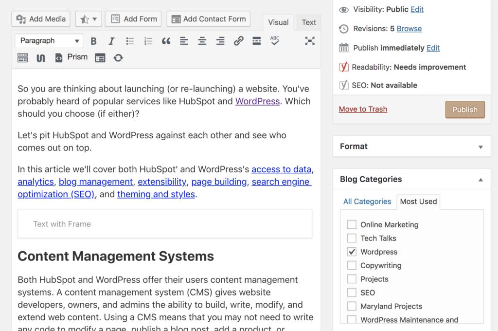 WordPress Blogging - HubSpot vs WordPress: The Ultimate Comparison - Rystedt Creative